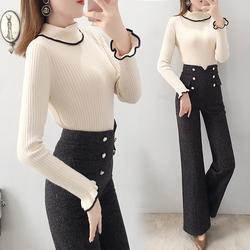 高腰阔腿裤套装女冬装2020年新款韩版时尚毛衣加裤子两件套洋气秋