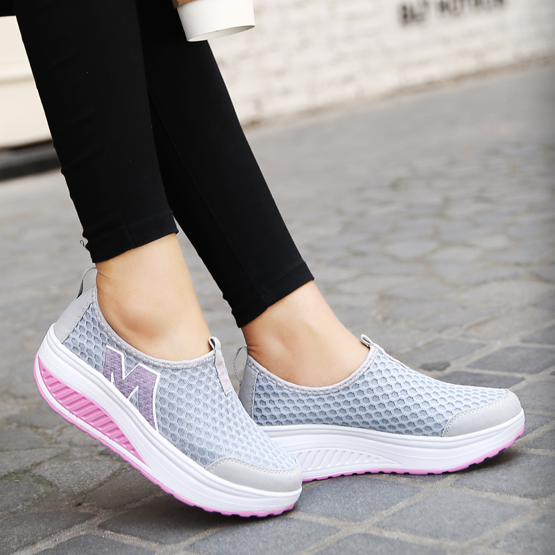 Summer new mesh rocking shoes womens lazy shoes thick soled increased mesh shoes womens breathable sports casual shoes womens single shoes