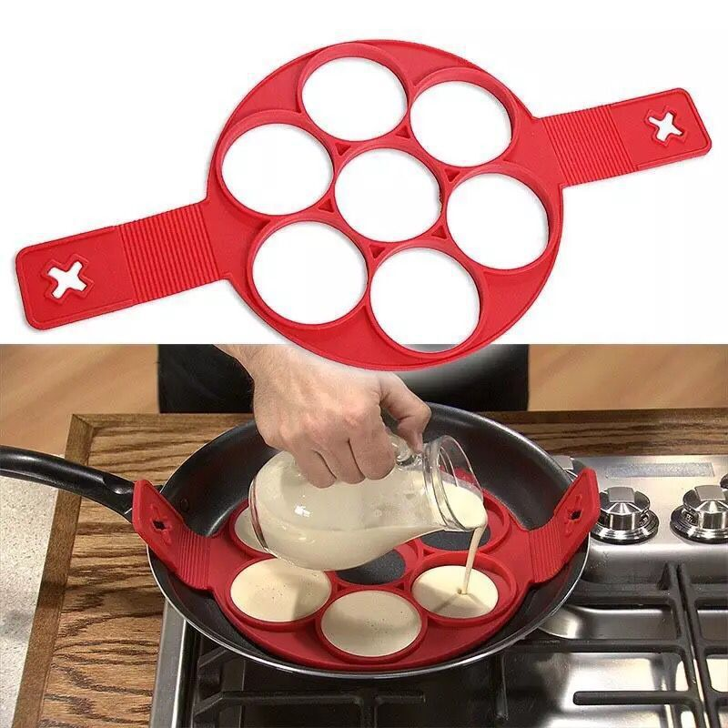 厨房DIY工具7孔蛋糕模具 硅胶多孔煎饼器 家用七孔煎蛋器