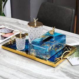 奢华金箔纸巾盒家饰软装搭配套装蓝玛瑙托盘金鹿储物家居客厅摆设