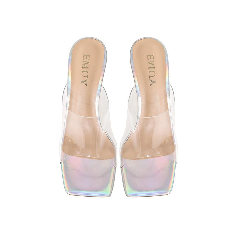 High heeled sandals fairy style thin heels 2021 summer new versatile soft transparent open toe slippers