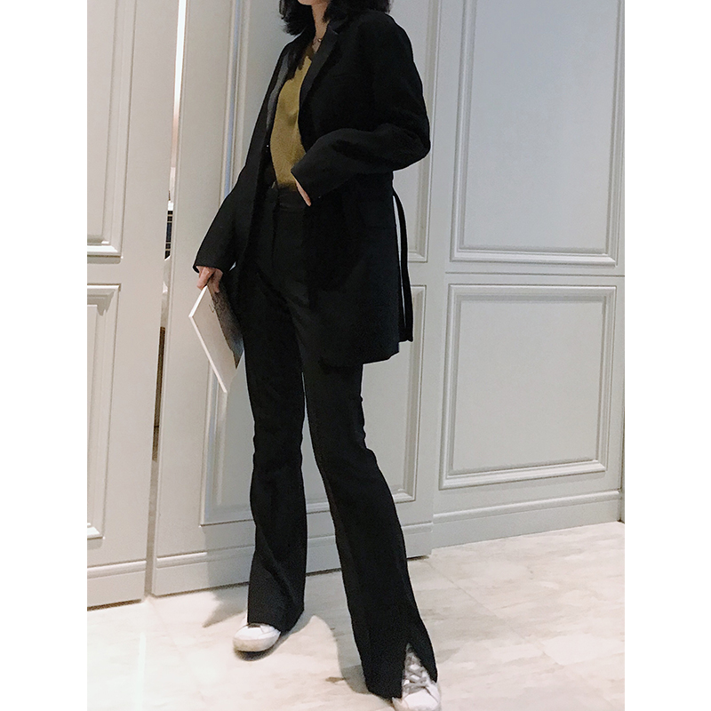 Tha hidemi2019春季新款高腰直筒裤微喇显瘦2米腿黑色开叉女长裤