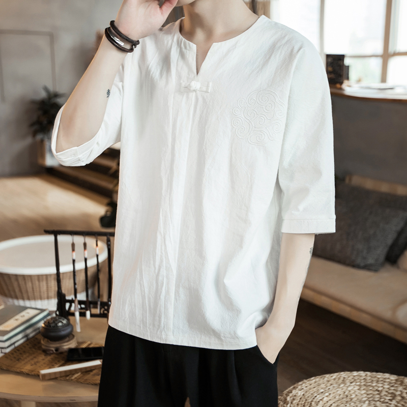 Chinese style t-shirt mens short sleeve fashion brand summer t-sleeve mens wear large size loose embroidery half sleeve Tang Han suit upper garment