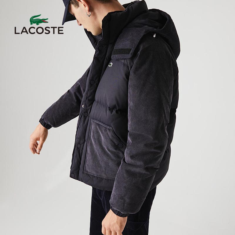 Lacoste French crocodile men's autumn and winter fashion warm hooded splicing short down jacket male BH1167