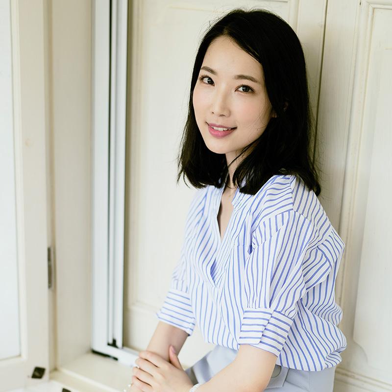Happy queen w summer stripe short sleeve Quarter Sleeve loose shirt V-neck Han Fan casual blue top