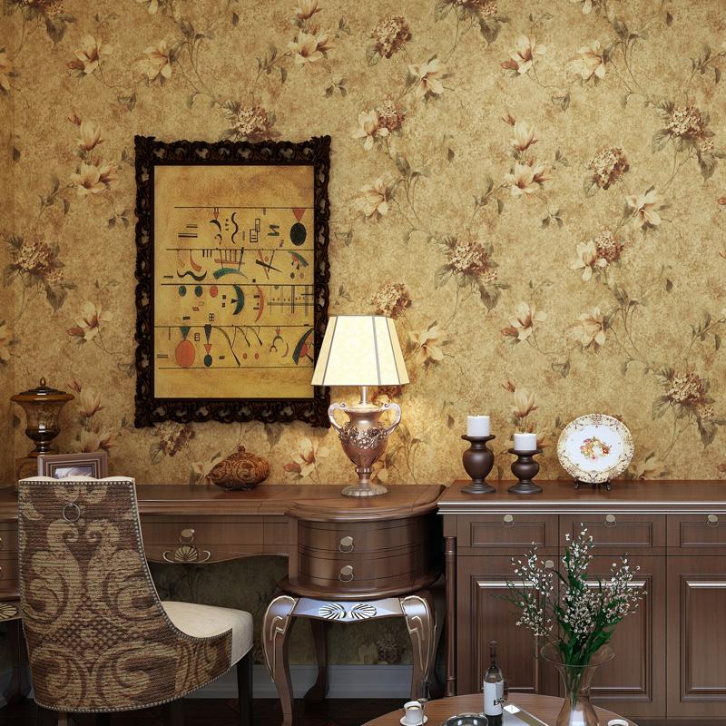 米冠美式乡村墙纸复古油画田园大花卧室客厅沙发电视背景纯纸壁纸