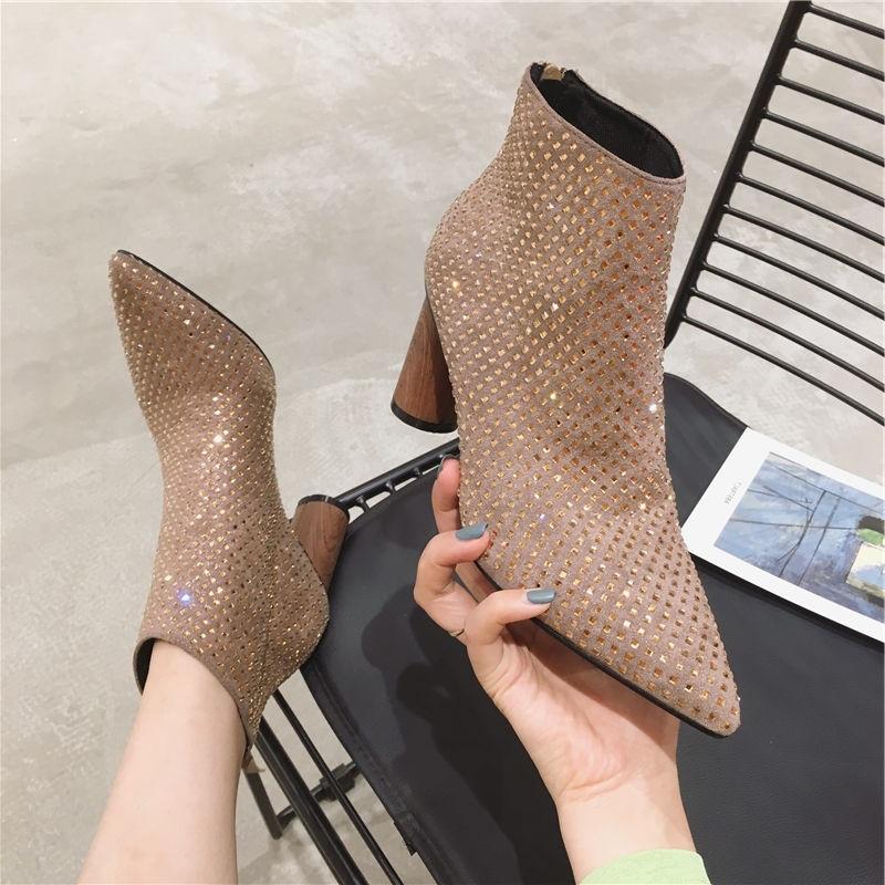 裸粉色短靴2019秋新款ins潮水钻女靴淑女风尖头高跟裸靴粗跟踝靴