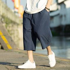 夏季原创中国风七分裤棉麻宽松亚麻短裤K66-P30