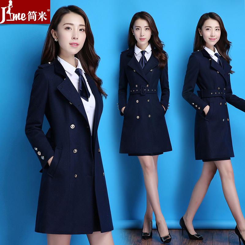 2018秋冬季新款职业装女装套装时尚韩版中长款毛呢大衣正装工作服