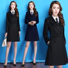 冬季加厚职业装女装套装2018新款时尚气质毛呢保暖西装套裙工作服