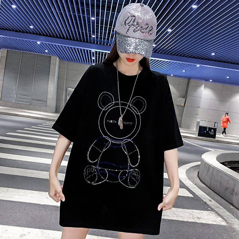 欧美高街潮牌短袖宽松t恤女小熊烫钻夏2021年新款中长款黑色上衣