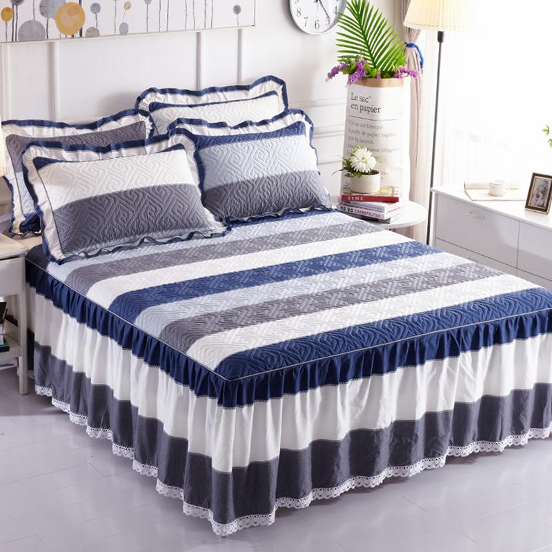 纯棉夹棉床裙式床罩单件全棉加厚围裙床套防滑保护花边床单新款带