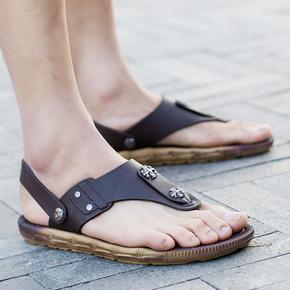 2017夏季夹脚人字拖黑色青少年休闲凉鞋男防滑大码沙滩鞋户外两用