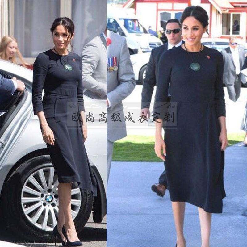 高端定制梅根王妃同款藏蓝色不规则连衣裙女中长款修身时尚气质春