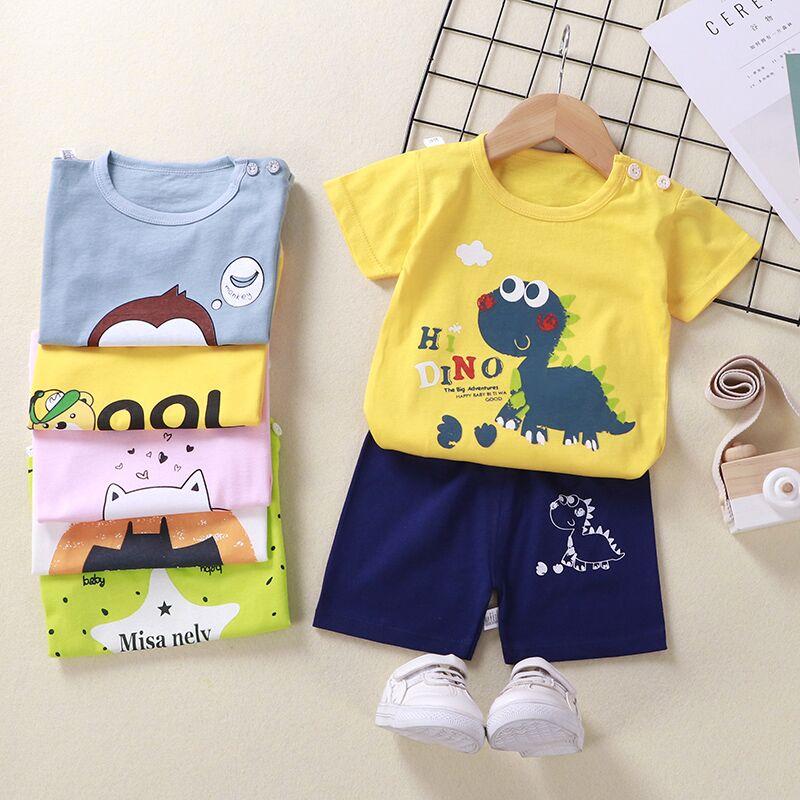 儿童短袖套装夏季男童童装婴儿纯棉小孩衣服女童短裤宝宝夏装新品