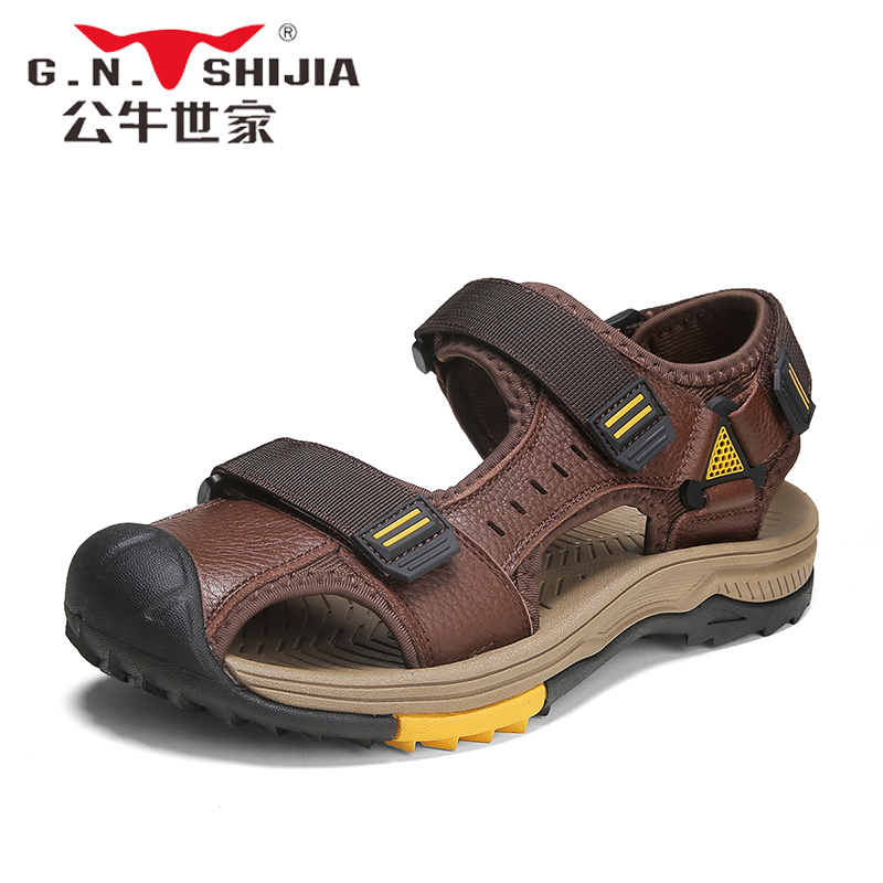 Bulls family summer full cow skin sandals men's tide leather bag men's beach sandals and slippers dual-use exercise