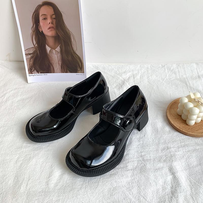 2020春夏季新款搭JK大头小皮鞋日系高跟单鞋粗跟玛丽珍黑色复古女