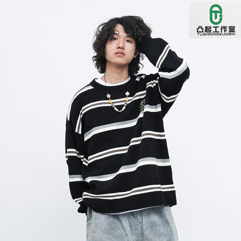Autumn and winter new loose fashion letter embroidered T-Shirt Top Japanese fashion brand striped Pullover Sweater for men