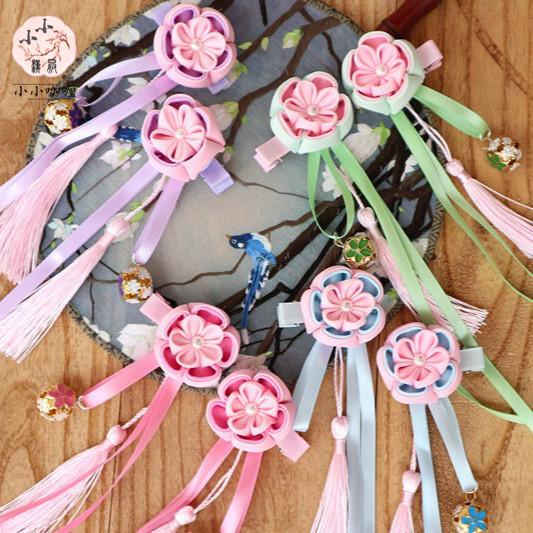 小小汉服女童新款复古风旗袍配饰发饰流苏发夹和风铃铛宝宝边夹