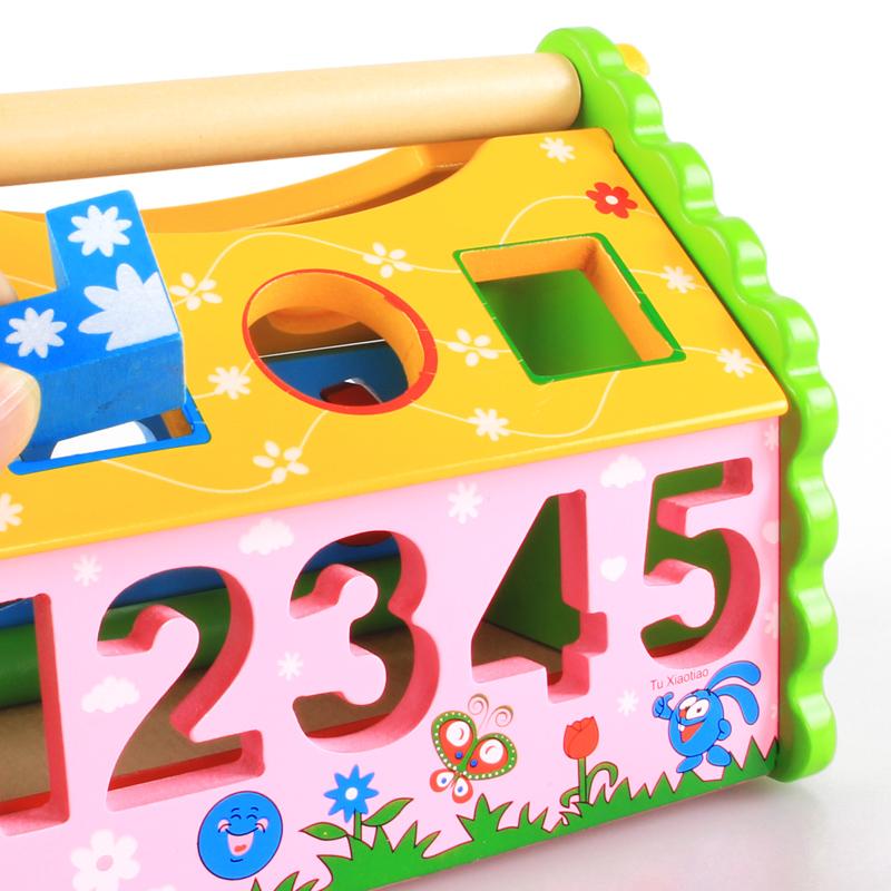 木製幾何形狀拆裝 積木 數字形狀認知智慧屋 兒童敲球益智玩具