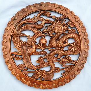 Dongyang wood pendant ornaments home decoration camphor wood carvings dragon playing with a pearl 28cm