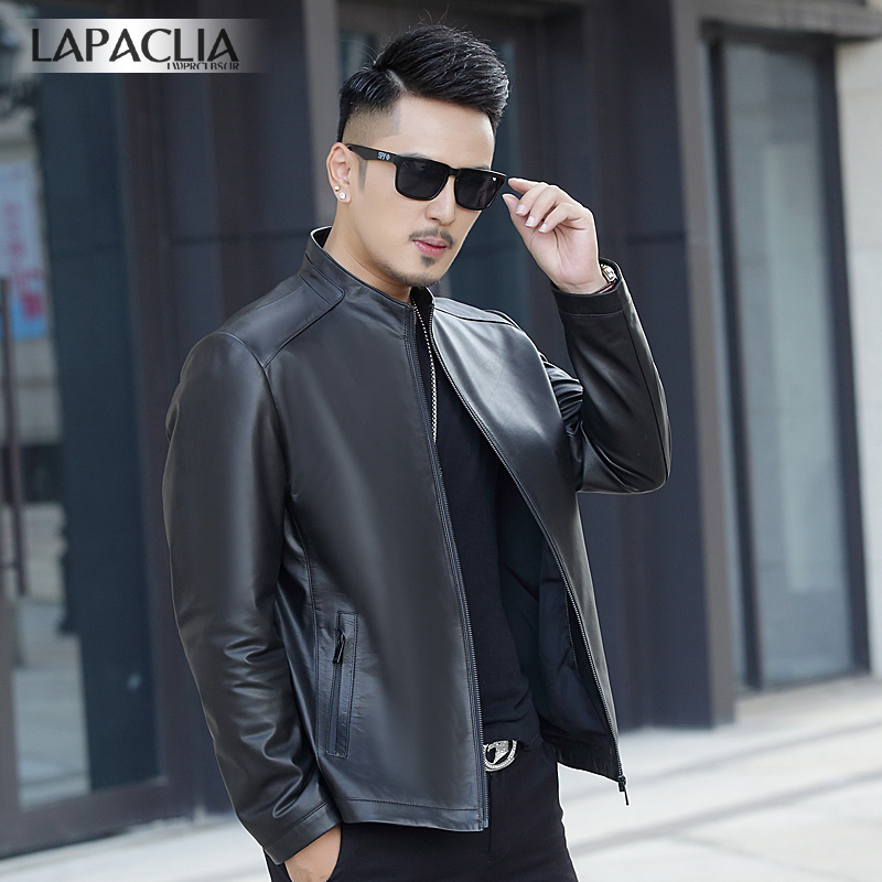 Imported first layer leather leather men's standing collar Leather Men's leather short fit leather jacket men's locomotive coat