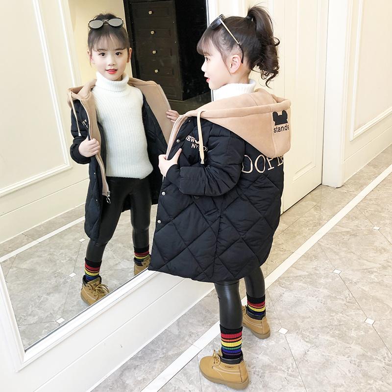 女童冬装棉服外套中长款2019新款洋气棉衣加厚儿童中大时尚派克服