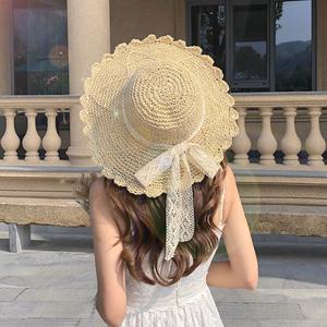 草帽女小清新日系百搭蕾丝绑带蝴蝶结帽子女夏出游大檐沙滩太阳帽