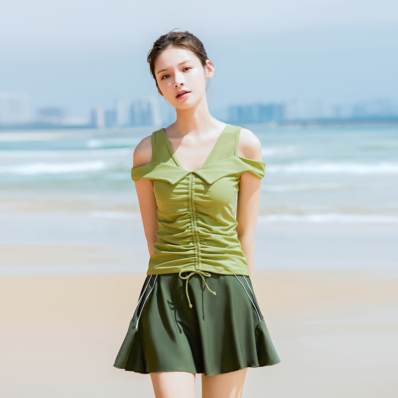 Swimsuit womens new split skirt flat pants two-piece suit conservative, thin and covering the stomach Japanese hot spring 2021