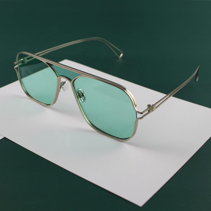 Hollow design Aviator Sunglasses trend cool concept color square metal glasses can be equipped with myopia Sunglasses