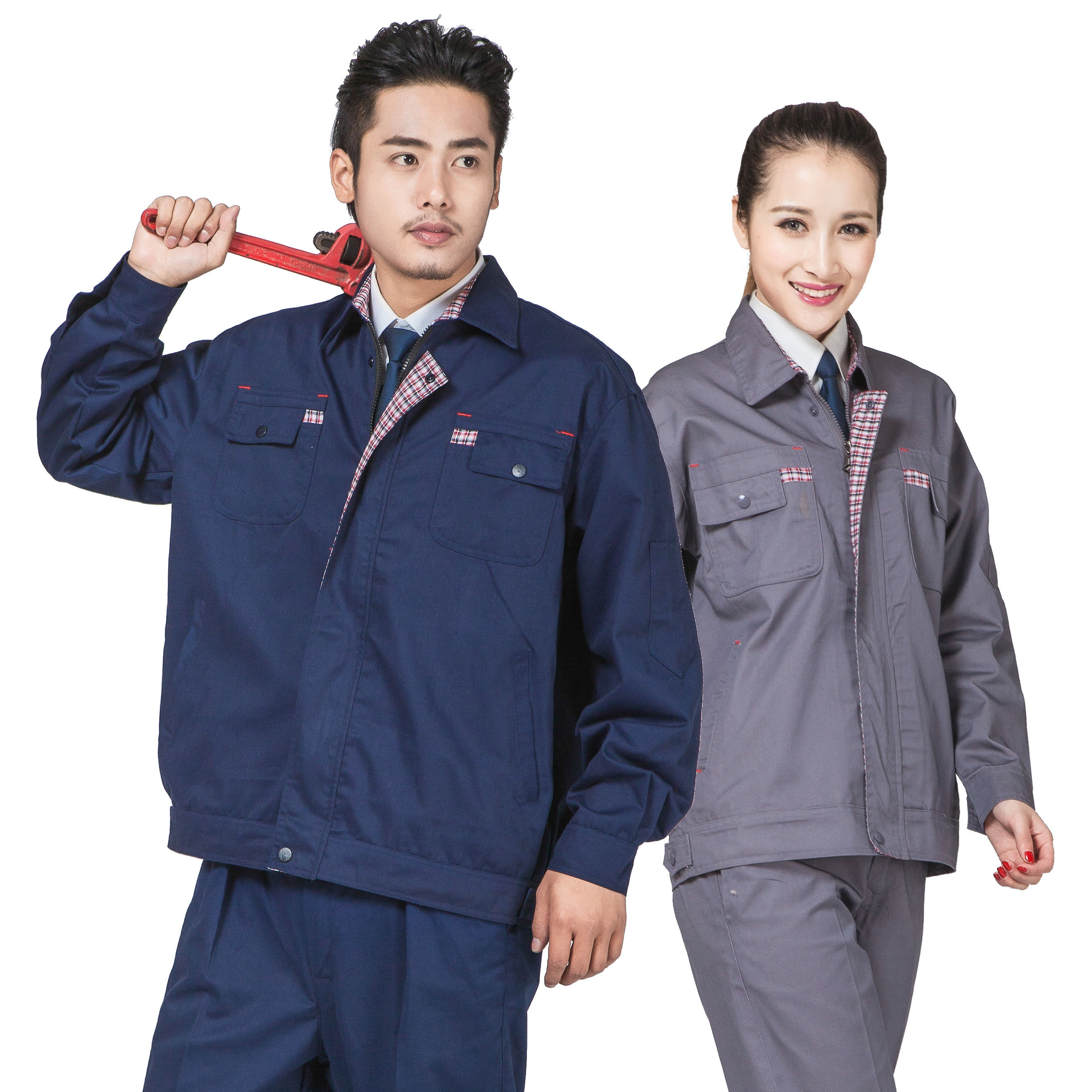 Spring and autumn long sleeved work clothes set mens and womens auto repair workshop factory clothes engineering work clothes labor protection clothes package mail