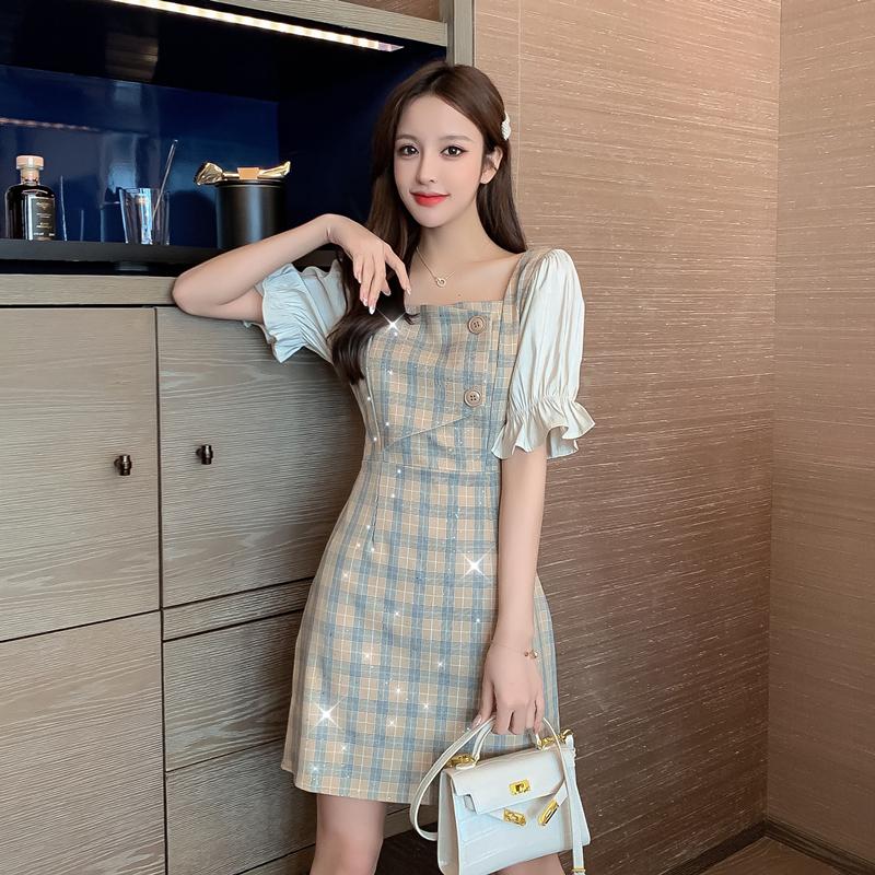 2020夏新款气质韩版假两件格子短袖收腰裙子拼接雪纺A字连衣裙女