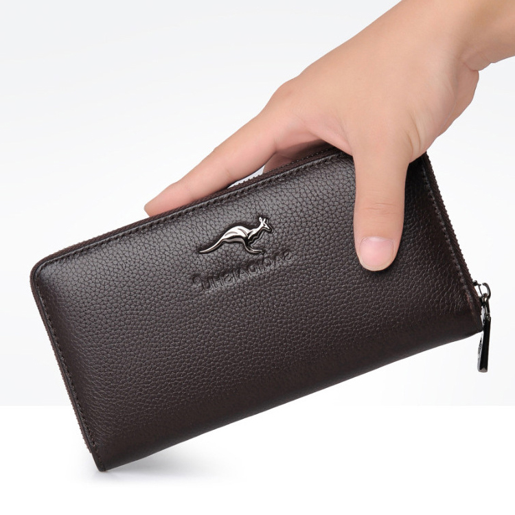 It can hold 5.5 inch Mobile Phone Wallet, mens zipper hand grip bag, multifunctional litchi pattern Handbag, leisure business wallet