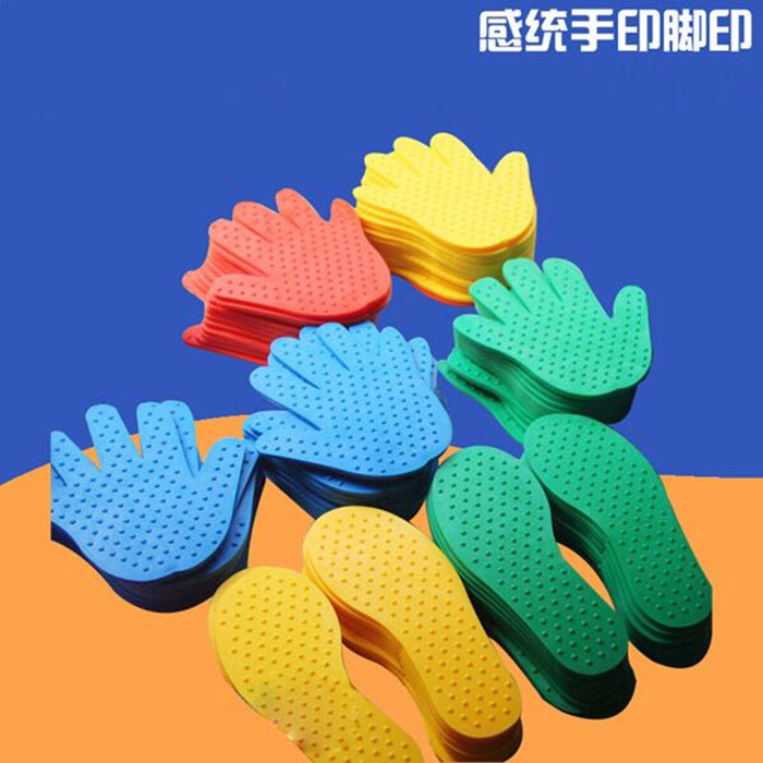 Kindergarten emotional training equipment * Childrens sports outdoor games sports toys hard rubber material hand and foot printing board