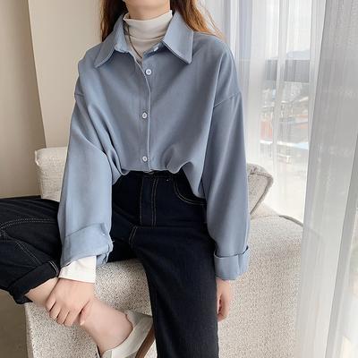 复古港味白色衬衫女2020新款韩版百搭宽松中长款锁骨上衣心机衬衣