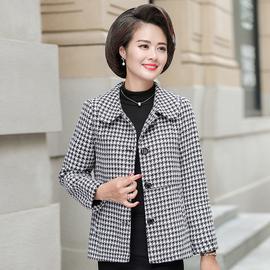 中年女装春秋装时尚格子小西装2020新款40岁50气质妈妈装短款外套