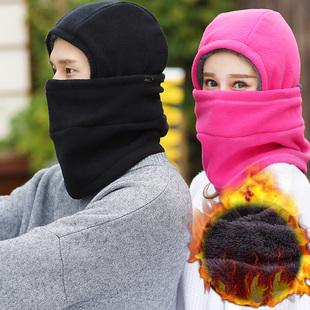 户外抓绒帽子冬加厚男女士围脖保暖防风滑雪帽骑车头套跑步运动帽品牌