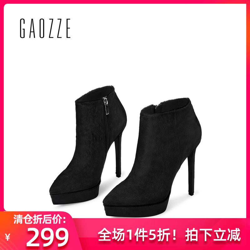 Gaoze autumn and winter womens shoes slim heel pointed short boots womens side zipper waterproof platform high heel boots children