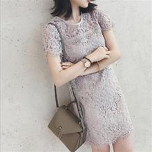 2017夏季新款女装小香风修身显瘦性感气质蕾丝港味连衣裙子女中裙