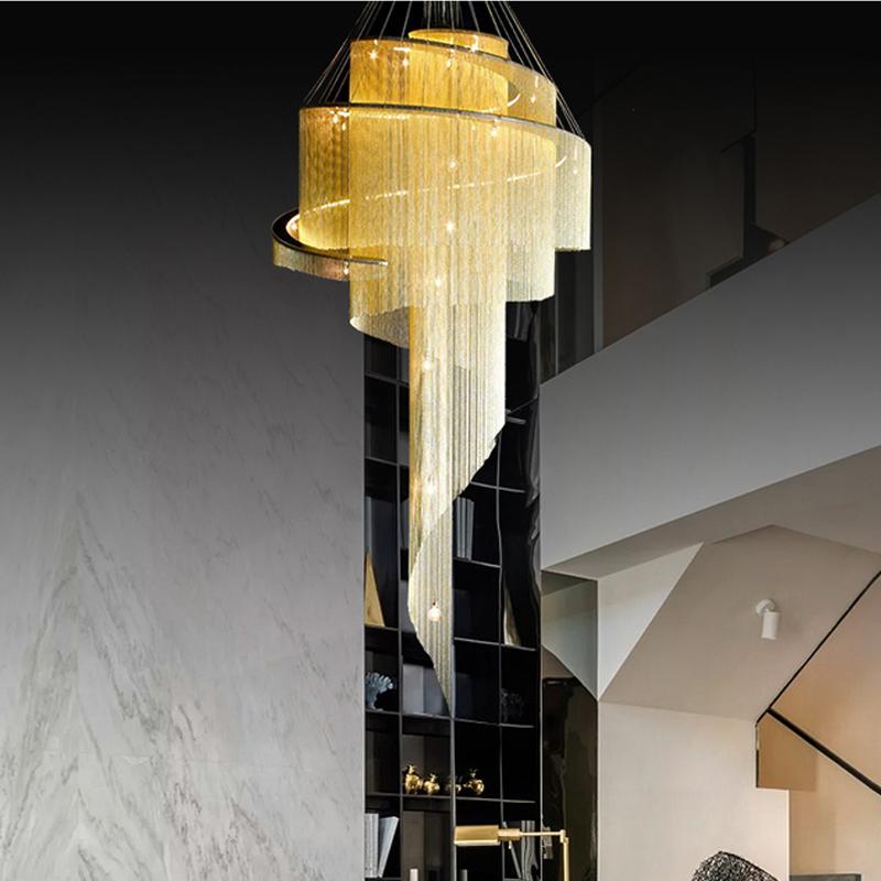北欧复式楼楼梯灯长吊灯轻奢后现代中空流苏灯别墅个性客厅大吊灯