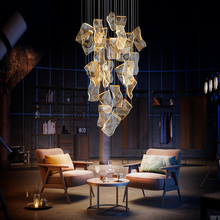 Multiple staircase chandelier post-modern simple light luxury living room lamp creative North European individual art villa hall lamp