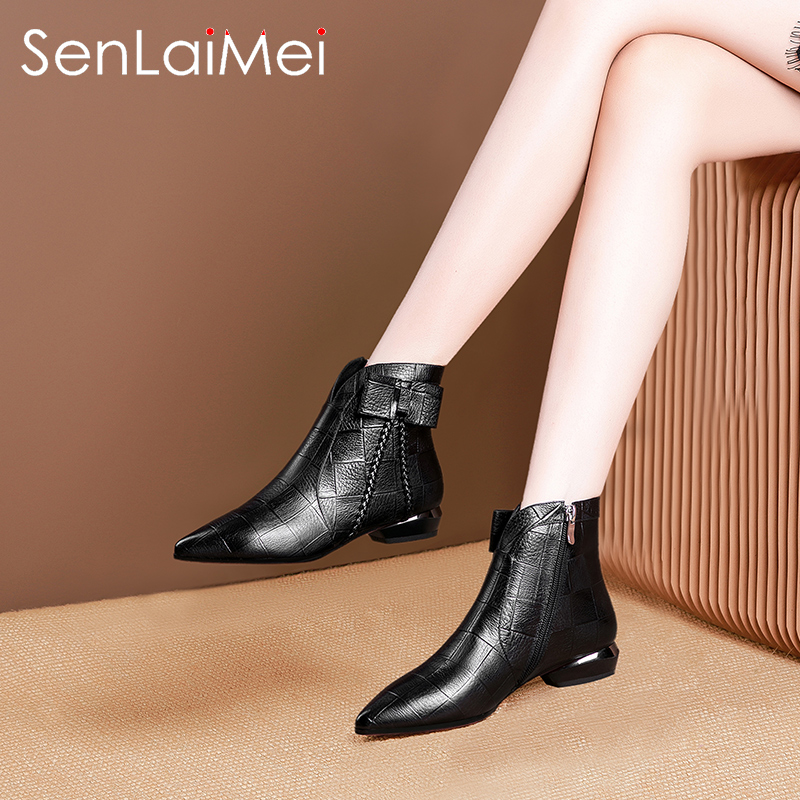 Spring and autumn 2020 new flat heel pointed short boots women's Leather Ankle Boots flat sole small short boots single boots large women's Boots