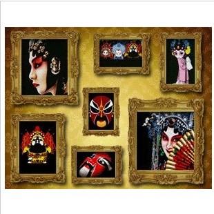 精准印花新款十字绣专卖 新款客厅七联画照片墙十字绣京剧脸谱