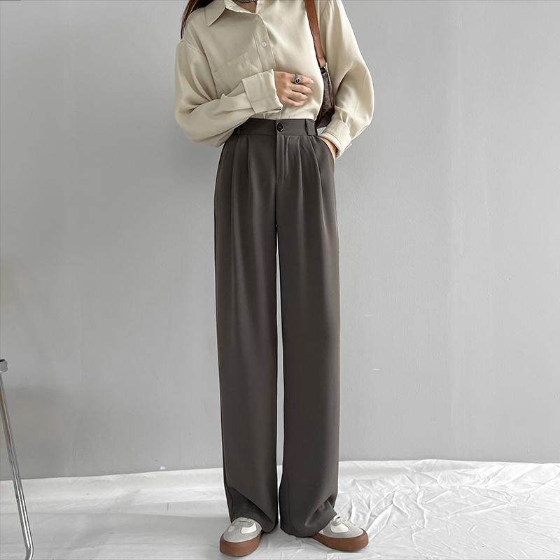 卡其色西装裤子女春秋夏季薄款高腰垂感宽松直筒休闲小个子阔腿裤