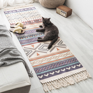 ins民族风棉麻卧室床边脚垫长地垫客厅沙发地毯榻榻米垫子可机洗