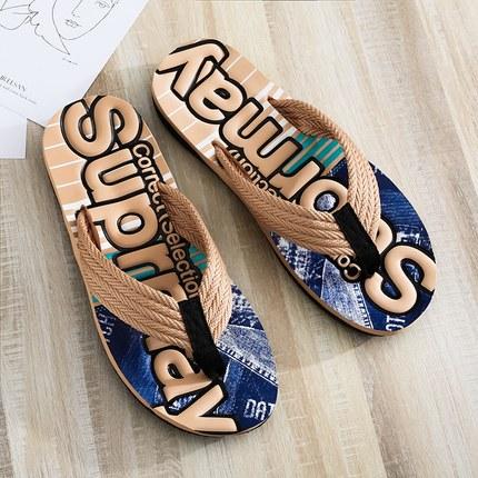 2020新款人字拖男韩版潮流百搭时尚外穿防滑沙滩拖鞋个性夹脚凉拖
