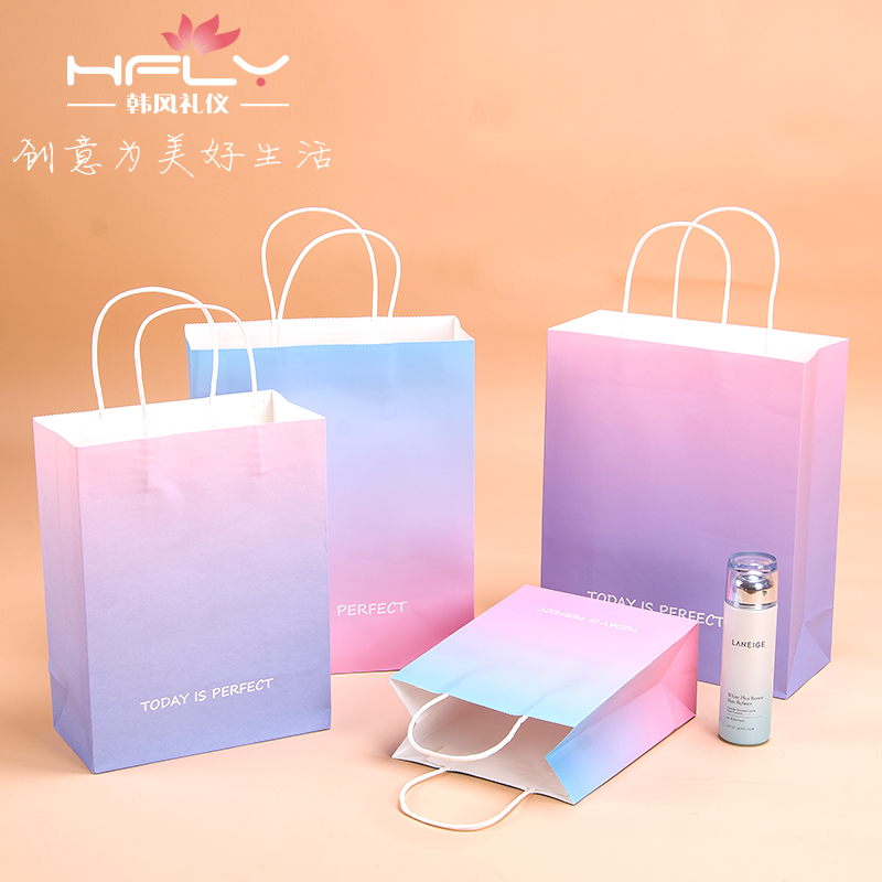 时尚清新渐变马卡龙色礼品袋生日礼物化妆品包装袋竖版手提纸袋子