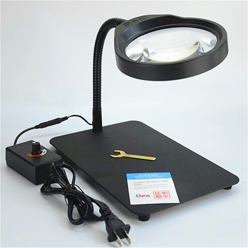 台式放大镜带led灯pdok雕刻检查维修焊接老人阅读PD-032C高清10倍