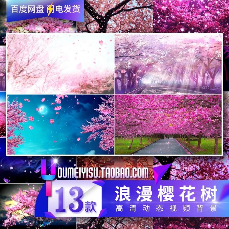 唯美樱花 花瓣飘飞 樱花树 高端婚礼led大屏幕舞台视频 背景素材-视频素材-sucai.tv