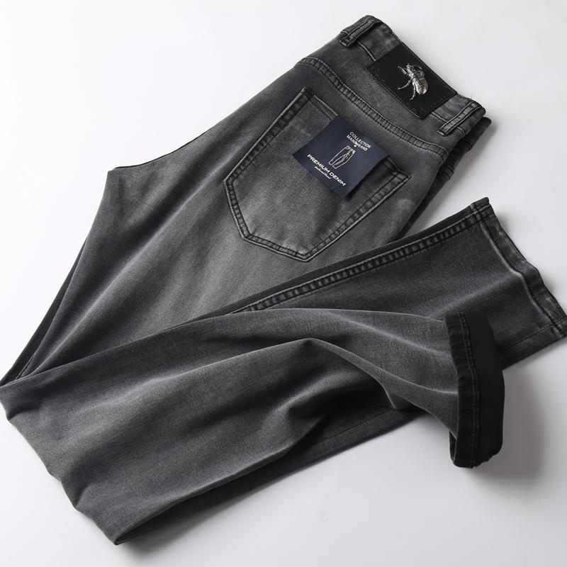 高端質感煙灰色夏季薄款男士修身牛仔褲舒適透氣柔軟休閑直筒長褲